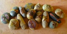 wrapped stones (could use shells and driftwood, too)