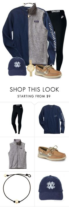"""extra preppyyy :)"" by sydneygrignon ❤ liked on Polyvore featuring NIKE, Patagonia, Sperry and Kate Spade"