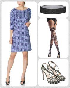 """Fra hverdag til fest på 2 minutter!  Jeg er stor fan af mantraet """"køb mindre, men mere af det du virkelig gerne vil have."""" Derfor er det også vigtigt at en kjole kan bruges på mange forskellige måder.  Ved hjælp af de rette accessories kan du derfor nemt """"opgradere"""" din hverdagskjole til et fest look. Tag fx den smukke lilla og mint mønstrede Filukka kjole, den får et helt andet udtryk hvis du sætter den sammen med et glimmer-sort Waist elastikbælte og et par sexede blonde"""