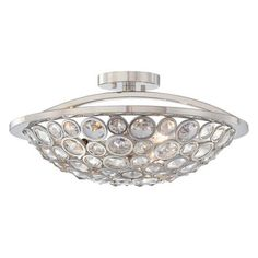 Magique Collection - Three Light Semi Flush - Three Light Semi Flush in Polished Nickel Finish w/Clear Crystal Accents