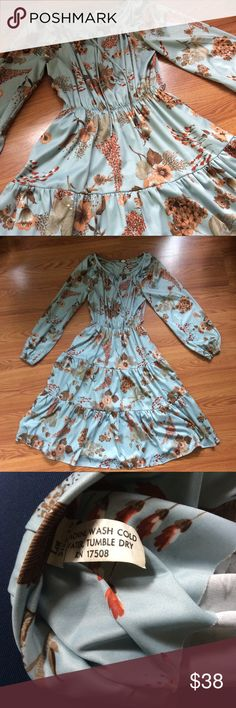 Vintage Amy Deb Long Sleeve Floral Dress Small Very good condition. No flaws. Would look fabulous belted with boots. Amy Deb Dresses Long Sleeve