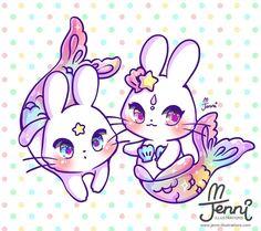 Merbunnies   .  .  .  #merbunny #bunnylover #mermaid #rainbow #pastel #jennilustrations