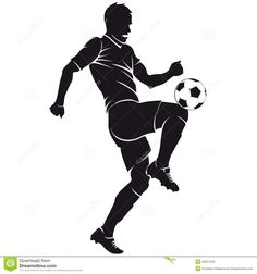 Illustration of vector football (soccer) player running silhouette with ball isolated vector art, clipart and stock vectors. Art Football, Soccer Art, American Football Players, Soccer Players, Basketball, Sports Art, Sports Logo, Silhouette Vector, Silhouette Cameo