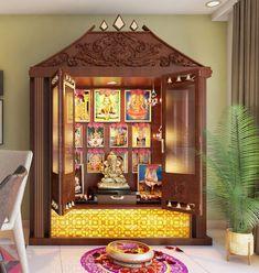 Pooja Units - Home Interior Designers in Banashankari - Home Decors in Bangalore, Modern Tv Cabinet, Tv Unit Design, Pooja Room Door Design, Home Room Design, House Design, Temple Design For Home, House Outside Design, Indian Home Interior, Interior Design Software