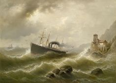Albert Rieger Lhootse Station an der Nordsee - Category:Paintings of ships in distress - Wikimedia Commons