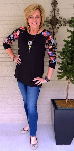 50 IS NOT OLD | FLORAL SLEEVES FOR SPRING | T-shirt | No Tuck | Comfortable | Spring | Floral | Fashion over 40 for the everyday woman.