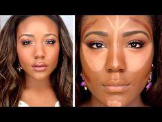 trendy makeup tutorial for black wom. - trendy makeup tutorial for black women dark skin faces – … – – - Highlighter Makeup, Contour Makeup, Contouring And Highlighting, Skin Makeup, Drugstore Contouring, Drugstore Makeup, Makeup Eyeshadow, Flawless Makeup, Makeup Brushes