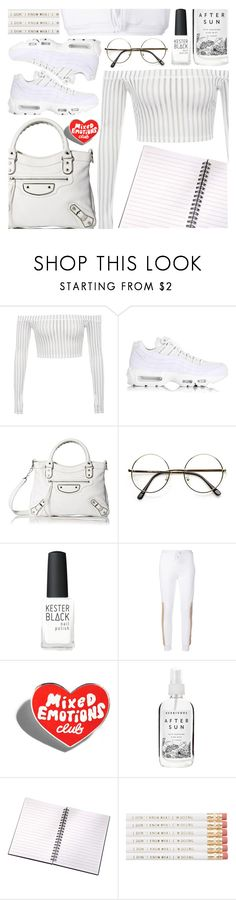 """White Sneakers"" by pastelneon ❤ liked on Polyvore featuring NIKE, Balenciaga, Kester Black, Lost & Found, croptop, sporty, nike and whitesneakers"