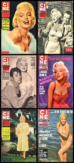Ciné Revue (French) magazine covers of Marilyn Monroe