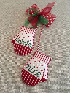 Naughty & Nice mitten ornament ~ canvas by Kathy Schenkel