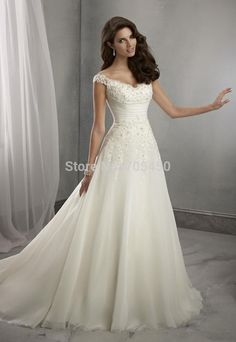 Cheap dress games, Buy Quality dress evening gowns directly from China gowns robes Suppliers:  Glamorous  A-line  Lace Half Sleeves White Sweetheart  Sweep Train Satin  Wedding Dress Wedding Gowns Bridal/Brid