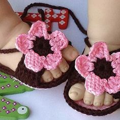 Tinksky Cute Cartoon Flower Style Baby Newborn Toddler Infant Girls Handknitted Wool Crochet Crib Shoes Sandals PinkDark Brown >>> You can find out more details at the link of the image.