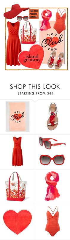 """""""Island Getaway: Hot Tub Club"""" by shannon-brennan ❤ liked on Polyvore featuring ban.do, Kate Spade, Lands' End, Gucci, Coral Dream, Seafolly, islandgetaway and coralfloral"""