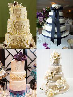 Lace Wedding Cakes | WeddingElation like the yellow and beige with big roses!