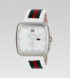 gucci coupé large stainless steel and web watch Gucci Watches For Men, Cool Watches, Men's Watches, Fashion Watches, Most Beautiful Watches, Watch Brands, Luxury Fashion, Womens Fashion, Style