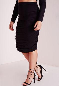 Missguided - Plus Size Ruched Seam Midi Skirt Black