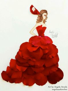 Flower Fashion 11 by angelaaasketches on DeviantArt Arte Fashion, 3d Fashion, Floral Fashion, Fashion Design, Paper Fashion, Arte Black, Unique Drawings, Fairy Dress, Fashion Sketches