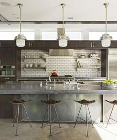 Modern Kitchen Interior Interior Design Ideas: 12 Concrete Interiors in interior design Category - Interior design is all about raw industrial finishes these days like plywood and concrete. These 12 modern concrete interiors pour on warmth and style. Industrial Kitchen Design, Kitchen Interior, New Kitchen, Kitchen Decor, Modern Industrial, Kitchen Modern, Industrial Kitchens, Kitchen Ideas, Neutral Kitchen