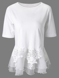 $15.15 Short Sleeves Splice Lace Flounce Blouse