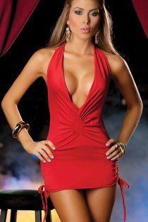 Low Cut Mini Dress with Cinched Ties on Sides 6ce35a86d