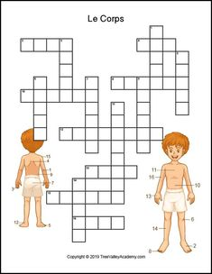French body parts worksheet. Free printable crossword to practice the names of body parts in french. French Language Lessons, French Language Learning, Learn A New Language, French Lessons, French Class, Foreign Language, English Language, Math Activities For Kids, Spelling Activities