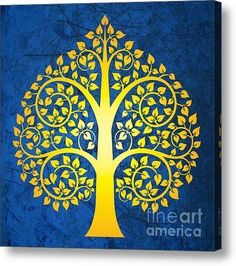 Golden bodhi tree Acrylic Print by Bobbi Freelance. All acrylic prints are professionally printed, packaged, and shipped within 3 - 4 business days and delivered ready-to-hang on your wall. Tree Of Life Artwork, Bodhi Tree, Madhubani Art, Indian Folk Art, Thai Art, Madhubani Painting, Buddha Art, Canvas Art, Canvas Prints