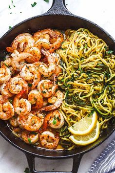 Lemon Garlic Butter Shrimp with Zucchini Noodles - This fantastic meal cooks in one skillet in just 10 minutes. Low carb, paleo, keto, and gluten free. dinner recipes gluten free Lemon Garlic Butter Shrimp with Zucchini Noodles ) Shrimp Recipes Easy, Fish Recipes, Seafood Recipes, Healthy Dinner Recipes, Cooking Recipes, Cooking Blogs, Keto Recipes, Zucchini Noodle Recipes, Skinny Recipes
