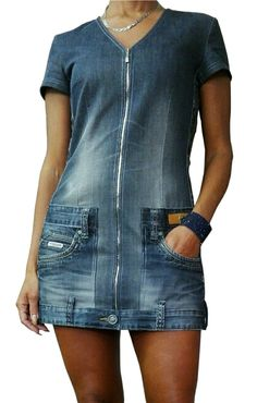 Denim dress (old trousers) - # pants dress- Jeanskleid (alte Hose) – Denim dress (old pants) - Jeans Refashion, Diy Clothes Refashion, Diy Clothes Jeans, Sewing Clothes, Sewing Jeans, Artisanats Denim, Mode Hippie, Mode Jeans, Denim Ideas
