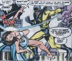 Because the script (Jim Shooter) was misunderstood, Yellow Jacket back-hands The Wasp. And so began one of the most controversial panels in Marvel comics. The Avengers 1981 i believe Comic Book Characters, Comic Books, Henry Pym, Janet Van Dyne, Tales To Astonish, Comic Book Panels, Wasp, Book Publishing, Marvel Universe