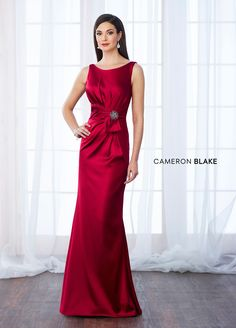 217639 - Sleeveless stretch satin fit and flare gown with bateau neckline, side gathered natural waist features sash accent with removable jewel brooch, gathered V-back, sweep train.  Sister dress to style 28872.