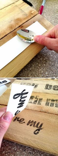 DIY Ideas & Tutorials for Photo Transfer Projects How To Make A Freezer Paper Transfer.How To Make A Freezer Paper Transfer. Pallet Crafts, Diy Wood Projects, Diy Projects To Try, Crafts To Make, Arts And Crafts, Project Ideas, Photo Projects, Crafts Home, Pallet Projects Signs