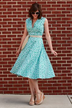 Dress sewn from Vintage Simplicity 3876. Fabric from Jo-Ann Fabrics. See also: http://whatiwore.tumblr.com/post/5318256402/my-diy-vintage-simplicity-3876 #aqua #turquoise #pattern #vintage