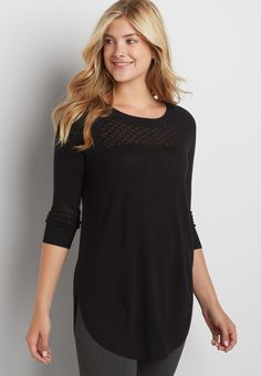 pullover tunic with rounded hem and pointelle stitching (original price, $34.00) available at #Maurices