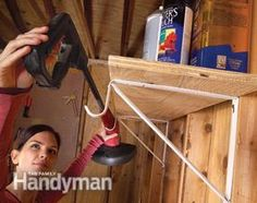 Shelf brackets designed to support clothes hanger rods arent just for closets. The rod-holding hook on these brackets comes in handy in the garage and workshop too. You can bend the hook to suit long tools or cords. Closet brackets cost about $3 each at home centers and hardware stores.