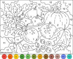 Gardening Autumn - Nicoles Free Coloring Pages Plus - With the arrival of rains and falling temperatures autumn is a perfect opportunity to make new plantations Adult Color By Number, Color By Number Printable, Printable Numbers, Color By Numbers, Paint By Number, Abc Printable, Printable Pictures, Preschool Coloring Pages, Coloring Book Pages