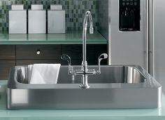 Dive into the depths of sea glass. #Kitchen #Sink