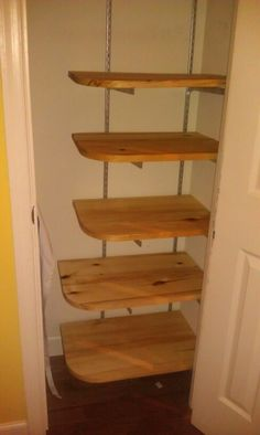 Convert a coat closet into a pantry. Leave space on the side to hang aprons or store a broom.