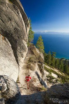 Xterra world champ Max King training on the flume trail above Lake Tahoe. Awesome photo is by Kevin Winzeler.