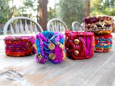 'Harlequin bracelet' Locker hooked bangle bracelets using sari ribbon and recycled silk strips.