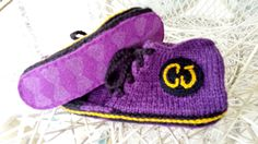 Customer Linda from Wisconsin made these lovely sneaker slippers, with Joe's Toes soles.