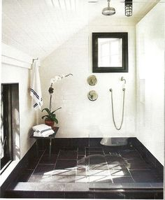 classic modern bathroom--white walls, slate floor, shower nook, use of home design room design design interior design 2012 room design Dream Bathrooms, Beautiful Bathrooms, White Bathrooms, Modern Bathrooms, Attic Bathroom, Attic Shower, Master Bathroom, Bathroom Black, Bathroom Interior