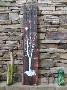 Tree and moon painting on reclaimed pallet art