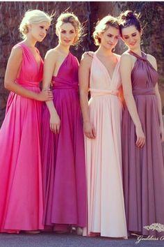 Damas de honor mismo vestido diferente escote y diferente color