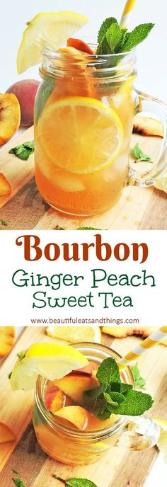 Nadire Atas on Exquisite Cocktails This Bourbon Ginger Peach Sweet Tea is made with fresh herbs and fruit, making it the perfect refreshing cocktail! Brunch Drinks, Tea Cocktails, Refreshing Cocktails, Mix Drinks, Sweet Tea Recipes, Brunch Recipes, Summer Drink Recipes, Summer Drinks, Kentucky Derby