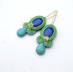 Ethnic Dangle Soutache Earrings - Colorful Dangle Earrings - Hand Embroidered Soutache Earrings in Boho Style - Bohemian Boho Jewelry Beaded Earrings, Beaded Jewelry, Handmade Jewelry, Bohemian Jewelry, Bohemian Gypsy, Tribal Jewelry, Modern Hippie, Hippie Chic, Hippie Style