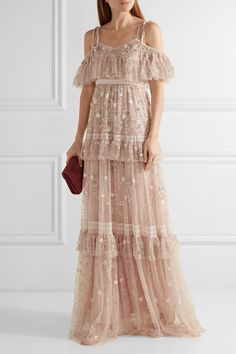 Needle & Thread | Supernova tiered off-the-shoulder embellished tulle gown | NET-A-PORTER.COM