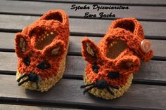 crochet baby shoes, crochet baby booties, fox shoes , baby slippers