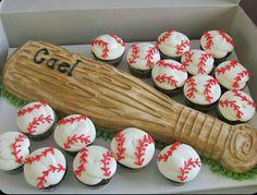 Baseball bat cake and baseball cupcakes. Love it bat cake and baseball cupcakes. Baseball Birthday Party, Sports Birthday, Softball Party, Sports Party, 8th Birthday, Kids Baseball Party, Birthday Gifts, Birthday Parties, Baseball Cupcakes