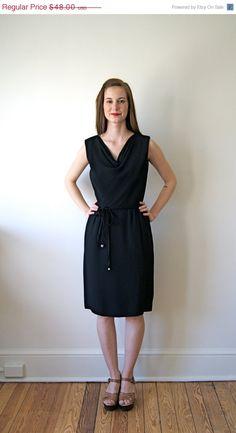 ON SALE 60s Dress. Little Black Dress. Draped Dress. Small / Medium.