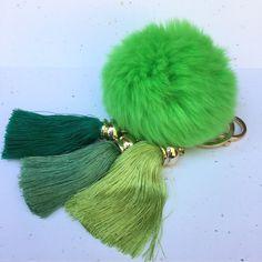 Fur pom pom keychain in green Rex Rabbit bag charm by YogaStudio55 #green #silk #accessory #bag #charm